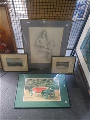 Sale 8833 - Lot 2057 - Group of Assorted Works incl. Nude Study by Joy Beardmore, Pair of Engravings of Early Sydney and Hobart, plus a Decorative Print