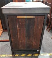 Sale 8959 - Lot 1023 - Raised Metal Clad Top Industrial Cabinet with Two Timber Doors (H: 95, W: 64, D: 53cm)