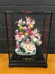 Sale 9006 - Lot 1037 - Chinese Floral Centrepiece in Display Case (H:51cm)