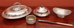 Sale 9108H - Lot 76 - A collection of silver plated wares including a lidded tureen Length 31cm, muffin dish, small basket, bowl and knife.