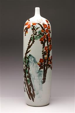 Sale 9119 - Lot 132 - A large blue and white flask shaped Chinese vase, decorated with tree and mountain (H:56cm)