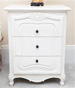 Sale 9190W - Lot 85 - A pair of white painted french style three drawer bedside cabinets. Height 74 x width 58 x depth 48cm