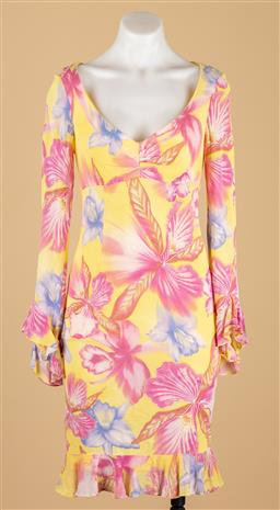 Sale 9250F - Lot 18 - A Escada Couture long sleeved floral dress, size 34.