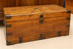 Sale 9260M - Lot 88 - A teak blanket chest with brass strapping, H 40cm W 90cm D 45cm
