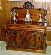 Sale 8015A - Lot 4 - A superior quality English mahogany sideboard with a 'C' scroll back carved with fruit and leaf forms.