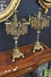 Sale 8255 - Lot 1031 - Pair of Ecclesiastical Gilt Brass & Painted Candelabra, with six lights on a pierced ring & triform base