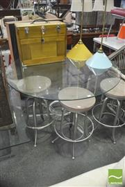 Sale 8404 - Lot 1095 - Modern Glass Top Table over Metal Base