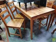 Sale 8480 - Lot 1091 - Five Piece Timber Dining Setting incl. Table & Four Chairs