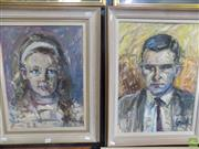 Sale 8561 - Lot 2051 - Louise Cornwall (2 works) Portraits of Mary Louise and Anthony Whelan MBE, 1963, oil on board, 51 x 38.5cm;57 x 42cm, signed lowe...