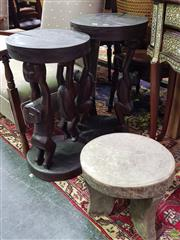 Sale 8562 - Lot 1009 - Pair of Sepik River Orator Stools Together with Small Wooden Stool