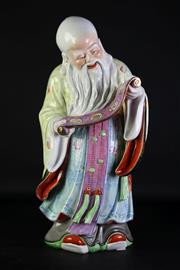 Sale 8972 - Lot 61 - Large Chinese Republic porcelain figure of Shoulau (H54cm)