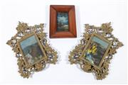 Sale 9003 - Lot 25 - Ornate Brass Framed oils ( 30cm x 22cm) inc A Timber Framed Example