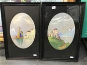 Sale 9033 - Lot 2069 - A pair of early watercolours depicting European lakeside scenes, frame: 44 x 28 cm