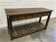 Sale 9059 - Lot 1040 - Rustic Tiered Timber Hall Table with Two Drawers (H:79 x W:142 x D:49cm)