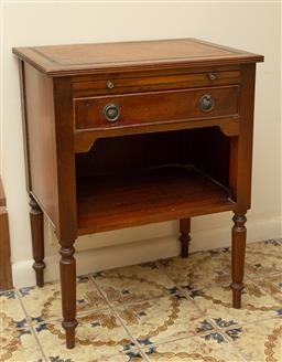 Sale 9164H - Lot 12 - A single drawer occasional table on turned legs with a lower shelf, one ring pull missing, and a leather top, Height 66cm x Width 50...