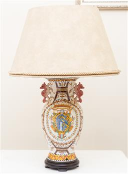 Sale 9190W - Lot 86 - A fine pair of porcelain lamps on timber bases. Height 60cm