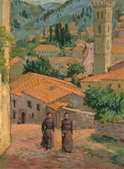 Sale 9244A - Lot 5088 - GWEN EICHLER Monks Walking through a Village, 1950 oil on board (AF) 51 x 38 cm (frame: 81 x 48 x 3 cm) signed and dated lower right