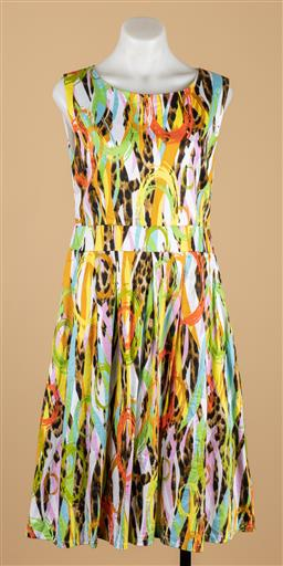 Sale 9250F - Lot 19 - A Vanessa Tong multi coloured and leopard print striped dress, size 14.