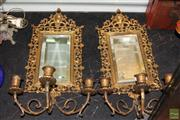 Sale 8226 - Lot 83 - Brass Pair of Gilded Bevelled Mirror Wall Sconces