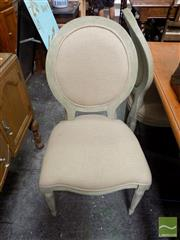Sale 8465 - Lot 1611 - Three Matching Dining Chairs with Upholstered Back & Seat on Turned Legs