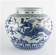 Sale 8536 - Lot 80 - A Ming style blue and white pot with dragon design, H 29cm