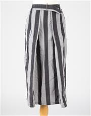 Sale 8541A - Lot 95 - An Issey Miyake calf length black and grey striped skirt with elasticated waist, pockets at the side, size S