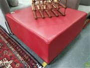 Sale 8637 - Lot 1018 - Red Leather Upholstered Ottoman