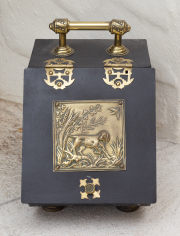 Sale 8677B - Lot 615 - A metal coal box with dog motif to hinge door.