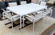 Sale 8746 - Lot 1004 - Set of Six B & B Italia Outdoor Dining Chairs & Dining Table, in white powdercoated aluminium, the pierced fabric with leather strip...