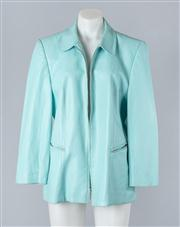 Sale 8828F - Lot 32 - A Basler Leather Jacket In Turquoise, Size 42