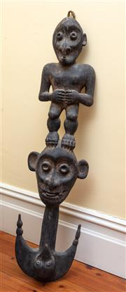 Sale 9055H - Lot 55 - A PNG carved sanban figural hook. H:103cm (losses to right ear)