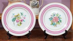 Sale 9120H - Lot 123 - A pair of early cabinet plates with floral motif, Diameter 23cm