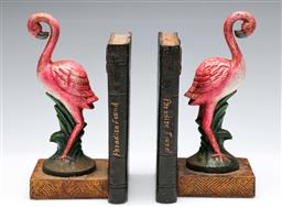Sale 9168 - Lot 21 - A pair of cast iron flamingo themed bookends (H:22cm)