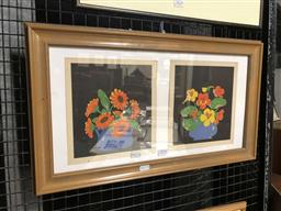 Sale 9172 - Lot 2036 - Two woodblock prints in frame