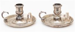 Sale 9190W - Lot 90 - A pair of silverplated chambersticks with snuffers. Height 7cm