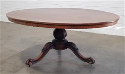 Sale 9215 - Lot 1070 - Victorian Figured Rosewood Loo Table, the oval top raised on a hexagonal baluster pedestal, with three outswept legs with paw feet (...