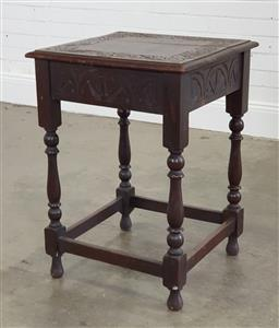 Sale 9215 - Lot 1013 - Carved Oak Square Occasional Table, with arcaded apron, turned legs & stretcher base (h:74 w:52 d:53cm)