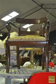 Sale 8331 - Lot 1582 - Timber Carver Chair with Upholstered Seat