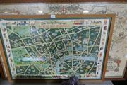 Sale 8362 - Lot 2095 - 2 Framed Maps, Picture Map of London & Pratts High Test Plan of the Roads to the South Coast
