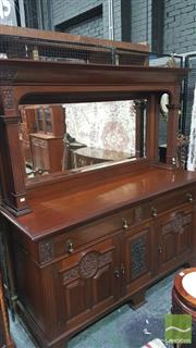 Sale 8375 - Lot 1013 - Edwardian Blackwood Sideboard, with mirrored back above two drawers and three carved panel doors (Key in Office)