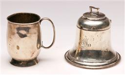 Sale 9128 - Lot 67 - A bell shaped sterling silver Inkwell, (H:9cm) together with a small sterling silver tankard (H: 7cm)