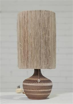 Sale 9188 - Lot 1125 - Italian ceramic table lamp with string shade (h48cm)