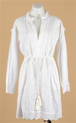 Sale 9250F - Lot 98 - A twin set Milano long sleeve linen and crochet dress, some stains, size S.