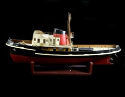 Sale 7907 - Lot 7 - Timber Model Steam Tug Boat on Stand (Length - 100cm)