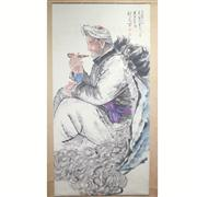 Sale 8244 - Lot 61 - Liu Wenxi Signed Watercolour Scroll of a Farmer