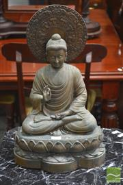 Sale 8282 - Lot 1015 - Brass Figure of Seated Buddha, in mudhra on lotus throne, with aura