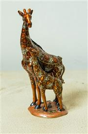 Sale 8420A - Lot 98 - A brass enamelled mother giraffe & baby trinket box with clear Swarovski crystals, measurements: 12cm high