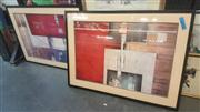 Sale 8433 - Lot 2042 - 2 Framed Decorative Abstract Prints, 80 x 54cm
