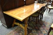 Sale 8500 - Lot 1055 - Spanish Guard Room Style Mango Wood Table with Parquetry Top and Wrought Iron Braces