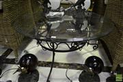 Sale 8500 - Lot 1276 - Glass Top Side Table with Wrought Iron Base